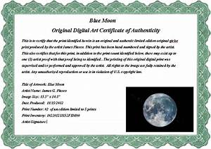 artist certificate of authenticity template - sample art certificate of authenticity