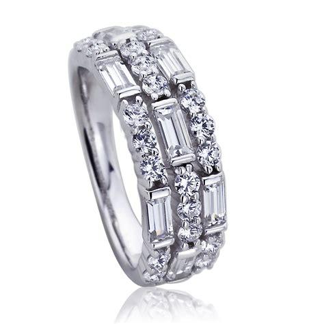 7mm platinum plated sterling silve baguette cz wedding engagement ring ebay