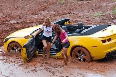 Beautiful Women Stuck In The Mud In Their Camaros