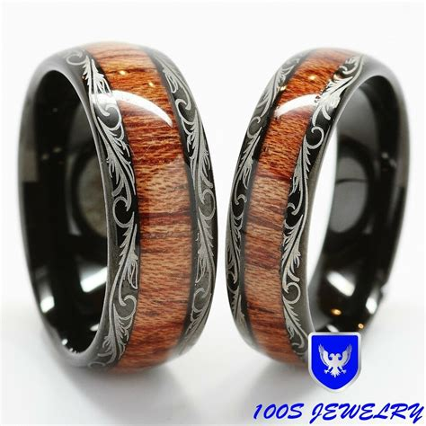 wooden inlay wedding rings s tungsten carbide wedding band inlay comfort fit ring ebay