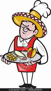 Mexican Chef Cook Plate Tacos Burrito Corn Chips stock vector