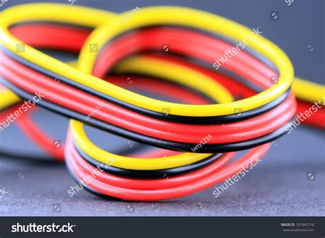 Close Multicolored Electrical Wires Yellow Black Stock