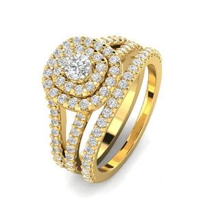 sk inc 1 1 10ct cushion halo diamond engagement wedding ring 10k yellow gold