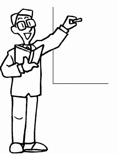 Teacher Coloring Male Drawing Clipart Teachers Pages