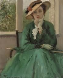 fernand toussaint belgian    green dress