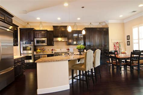 34 Kitchens With Dark Wood Floors (pictures. Living Room And Kitchen. Red Living Room Furniture Sets. Modern Furniture For Small Living Room. Urban Barn Living Room. Accessorize Living Room. Eames Chair In Living Room. Sherlock Holmes Living Room. Decorating A Living Room With A Fireplace