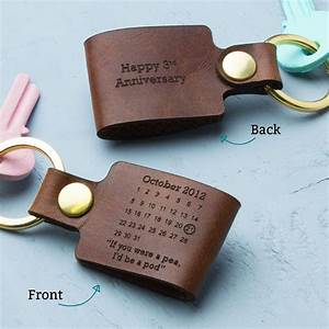 personalised third wedding anniversary leather keyring With 3rd wedding anniversary gift ideas for her