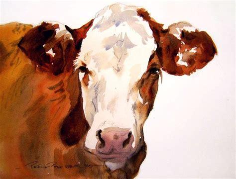 Watercolor Cow  Painting Cows  Pinterest  Djur, Konst
