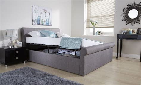 Ottoman Sleigh Bed by Side Lift Ottoman Sleigh Bed Hopsack Fabric Silver