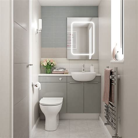 wickes vienna grey gloss  white fitted compact wc unit