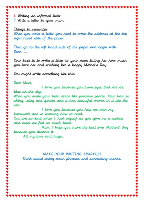letter writing activity  mothers day  shetim