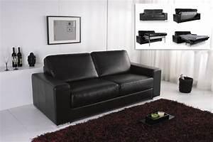 canape convertible modulo cuir noir canape topkoo With canapé cuir bonne qualité