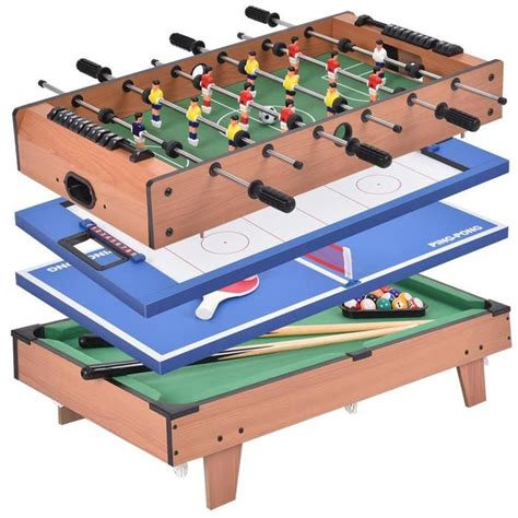 Table Multijeux 4 En 1 Babyfoot Tennis De Table Hockey