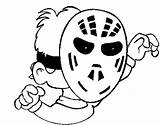 Mask Hockey Coloring Pages Costume Costumes Halloween sketch template