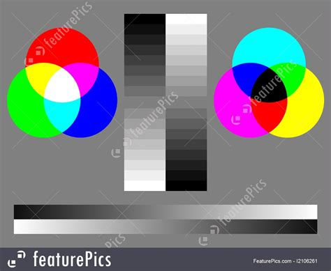abstract forms color test chart rgb cmyk  step grey