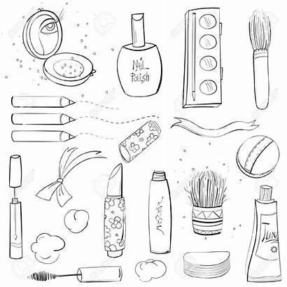 Makeup Drawing Sketch Clipart Coloring Drawings Pages