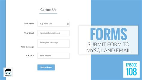 submit an html form to both mysql and email using