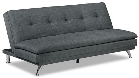 fabric futon sofa bed june linen look fabric futon charcoal united furniture
