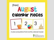 August Pocket Chart Calendar Pieces FREE Printable