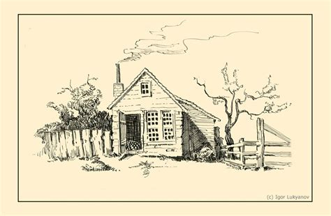 village hut drawing