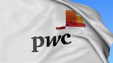Close Up Of Waving Flag With Pricewaterhousecoopers Pwc