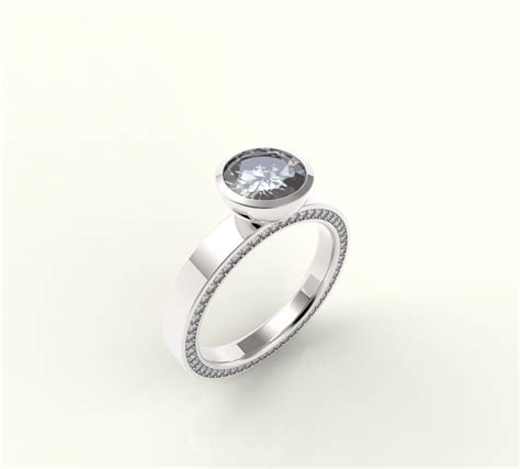 handmade simple modern engagement ring with band by pesek custommade