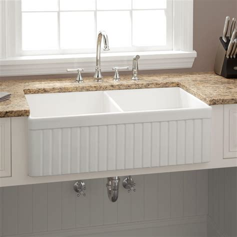 33 Quot Baldwin Double Bowl Fireclay Farmhouse Sink Fluted