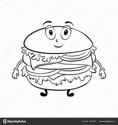 Burger Coloriage Colorear Hamburguesa Dibujar Caricaturas Caricatura