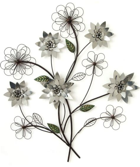 metal wall silver flower branch