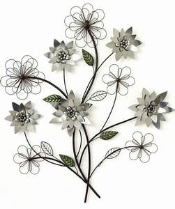 Metal wall art silver flower branch