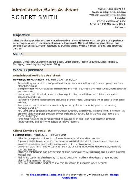 Resume Sle For Administrative Assistant by Administrative Sales Assistant Resume Sles Qwikresume