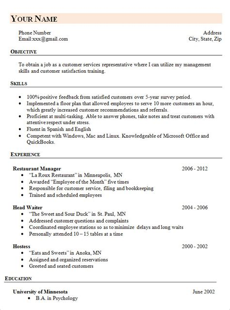 Free Simple Resume Templates by Simple Resume Template 46 Free Sles Exles