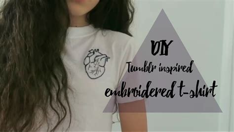 DIY embroidered t shirt (anatomical heart) // tumblr and
