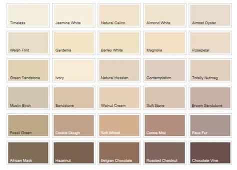 Cream Colour Chart