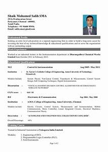Resume Samples For Freshers Eee Engineers