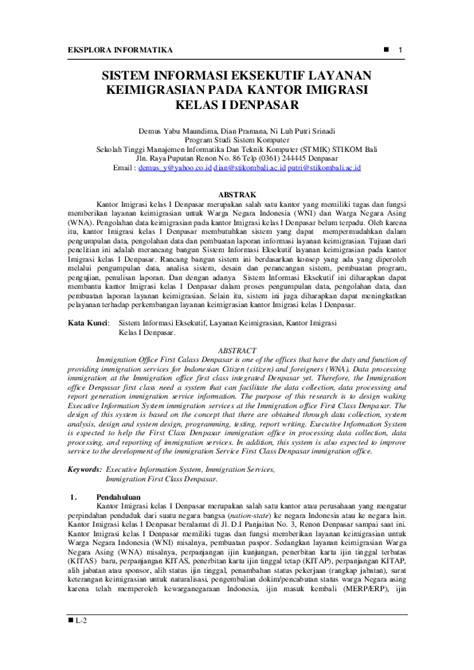 (PDF) Sistem Informasi Eksekutif Pada Kantor Imigrasi