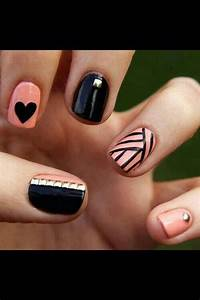 Black and light pink nail design | Cute nails | Pinterest