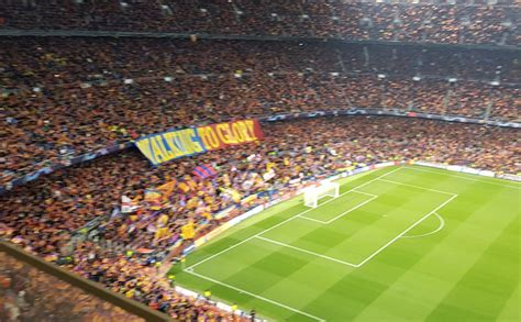 Barcelona fans unveil 'Walking To Glory' banner as ...