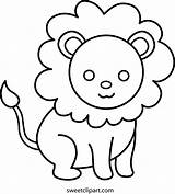 Lion Coloring Clip Cute Sweetclipart Sweet sketch template