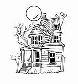 Haunted Coloring Simple Printable Halloween sketch template
