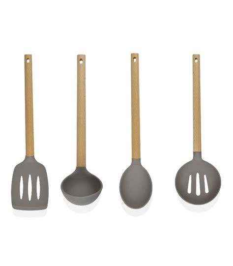 ustensile de cuisine en bois set de 4 ustensiles de cuisine en bois et silicone gris à