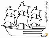 Pirate Ship Coloring Pages Mast Boats Pirates Printable Colouring Ships Simple Cartoon Seas Yescoloring Square sketch template
