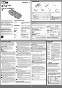 Notice Epson Labelworks Lw-z700