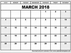 march 2018 calendar calendar printable free