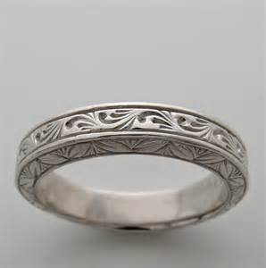 deco wedding band engraved wedding band ring deco antique vintage style