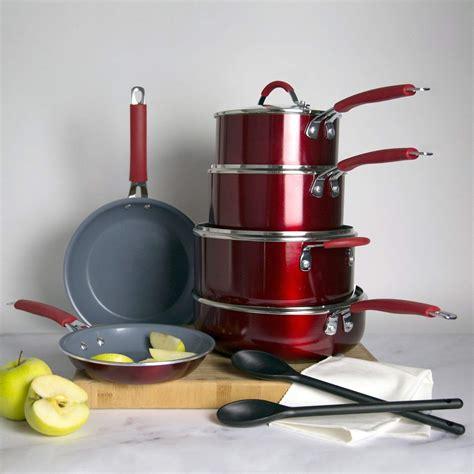 cooking light allure  piece  stick ceramic cookware set red walmartcom walmartcom