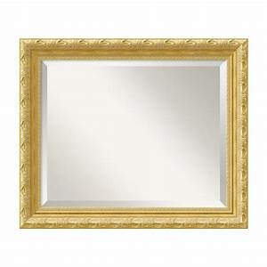 shop amanti art versailles gold beveled wall mirror at With kitchen cabinets lowes with mirrored frame wall art