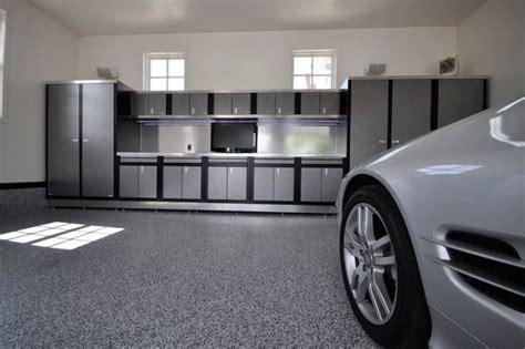 dream garages  workshops blue  grey garage cabinets