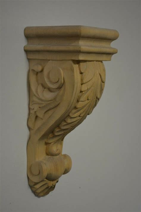 Carved Wood Corbels acanthus leaf maple wood corbel bracket carved ebay