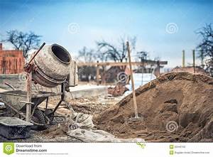 Cement Mixer Machine At Construction Site, Tools And Sand ...